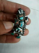 Old pawn Native american Zuni sterling multi stone rainbow man ring  size 8 3/4