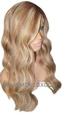 Human Hair Wig Front Lace 22 Long Wavy Light Brown Blonde 6 613 Highlight Moklox