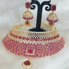 Indian Bollywood Style CZ AD Bridal Wedding Silver Fashion Jewelry Necklace Set