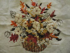 "Vintage Vase & Autumn Fall Flowers Embroidered Cross Stitch Fabric (15"" X 18"")"