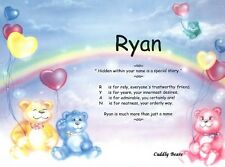 Cuddly Bears Personalized Name Meaning Print