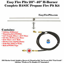 "H20CK: 20""x7"" Lifetime 316 Stainless H-Burner Complete Basic LP Gas DIY Fire Kit"