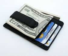 Men's Genuine Cowhide Leather Strong MONEY CLIP Wallet ID Badge Thin Black Nice