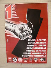 MAY DAY POSTER / GENERAL STRIKE UNION, CGT, CNT, IWW, SAC, ESE, USIAIT, IWW