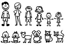 "12 Stick Figure Family Funny Window Decal Stickers 5 1/2"" High to 2"" High"