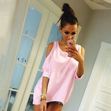 Fashion Sexy Womens Cold Shoulder Casual Loose 3/4 Sleeve T-Shirt Tops Blouse