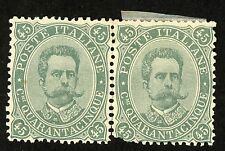 1889 ITALY Stamp #54 45c gray green, PAIR, MINT (1) MNH (2) MHR  RARE!!!