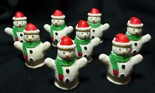 Lot of 8 Miniature Snowmen with Santa Hats Christmas Winter Decorations 1 3/4""