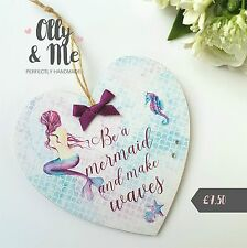 Handmade Wooden Mermaid Gift Plaque/Sign Gift Hanging Heart Friend Birthday