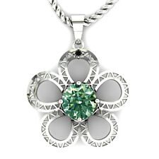 1.54.ct VVS1/ GREEN REAL MOISSANITE & NATURAL BLACK DIAMOND .925 SILVER PENDANT.