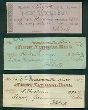 1890-1918 First National Bank of Strasburg(PA) Bank Checks Group of 16 Different