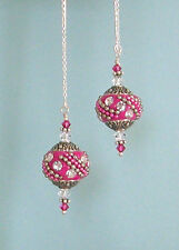 STERLING SILVER Ear Thread Threaders w/FUCHSIA BALI STYLE BEAD SWAROVSKI CRYSTAL