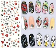 Halloween Nail Art Water Decals Transfers Nose Blood Eyes Horror Gel Polish 197