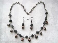 *VOLCANIC MOLTEN LAVA* Glass Lava Bead Gunmetal Necklace & Earrings Gift Set WOW