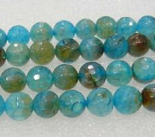 """AAA 8mm Faceted Blue Dragon Veins Agate Round Loose Bead 15"""""""