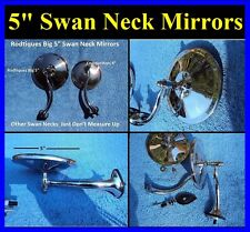 """5"""" Swan Neck Rear View Mirrors Door Cowl Exterior Round Hot Rod Streetrod Ford"""