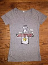 (M) Women's Reebok 2015 Stanley Cup Champions Chicago Blackhawks Gray T-Shirt