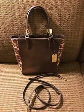 COACH  Brown Madison Colorblock Saffiano Leather Mini Tote Bag Crossbody #32683