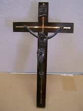 Vintage Cross Crucifix with Dark Wood and Metal Jesus - Mexico