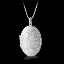 "Shiny 925 Sterling Silver PL Flower Oval Photo Locket Chain Necklace 18.1"" Gift"