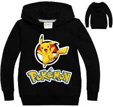 Black Sweatshirt POKEMON GO Hoodie Kids Boys Girls Long Sleeve T-Shirts 5-6Year
