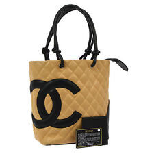 Auth CHANEL Quilted Cambon Line CC Hand Bag Beige Black Leather Vintage V11814