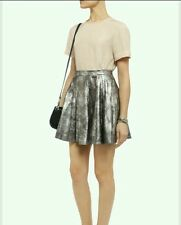 Muubaa 'Pipri' silver leather skater skirt UK8 BNWT