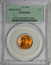 1944-D/S LINCOLN WHEAT CENT 1C PCGS MS66 RD RED FS-511 TYPE 1, OGH, POP (11/1)!