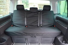 VW T5 T6 Caravelle 2003 Onwards Rear Bench Tailored Black Seat Covers UK Made