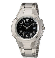 Casio MTP3036A-1AV, Men's Watch, Silvertone Metal Band, Black Dial, Date