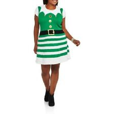 NEW WOMENS PLUS SIZE 3X GREEN CHRISTMAS HOLIDAY BEST DRESSED ELF SWEATER DRESS