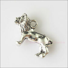 4 New Charms Tibetan Silver 3D Animal Lion Pendants DIY 15.5x23mm