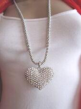 Damen Hals Kette Bettelkette Modekette Lang Modeschmuck XL Strass Herz Silber
