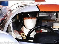 STEVE MCQUEEN LE MANS 24 HOURS RACING PHOTOGRAPH  MIKE DELANEY GULF  PORSCHE 917