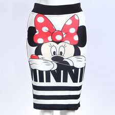 Women Minnie Mouse Striped Zip Up Pencil Skirt Slim Bodycon Party Midi Dress