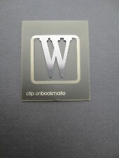 BOOKMARK Letter Initial W Alphabet Steel Clip On Gift Present Birthday Thankyou