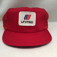 Vintage 70s 80s UNITED AIRLINES Mesh Trucker Snapback Baseball Hat Cap RED
