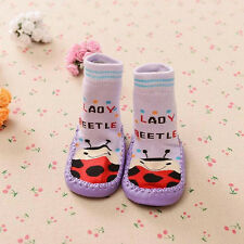 Toddler Baby Boy Girl Moccasin Non-Slip Socks Leather Soled Sleepers Socks Shoes