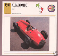 1940 Alfa Romeo 512 Race Car Photo Spec Sheet Info Stat French Atlas Card