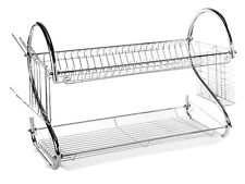"""2 Tier Stainless Steel """"S"""" Dish Rack - Dish Drainer Rack 22"""" (White Tray)"""