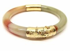 Vtg 14K Gold Carved Jade Bracelet Hinged Bangle Etched Floral Chinese Estate