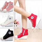 Hot New Women's Canvas Shoes High Top Wedge Heel Lace Up Zip Sports Sneakers