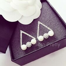 1Pair Fashion Earrings Pearl Rhinestones Hollow Triangle Ear Clip Stud Earrings