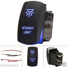 5pin Rocker Push Switch Button Blue LED Interior Light Bar Backlit For Car Boat