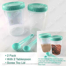 Twin Pack Screw Lock Food Storage Long Tall Air tight Plastic Container & Spoons