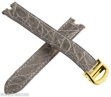 Genuine Cartier 15mm Grey Alligator Watch Band Strap With Gold Tone Buckle