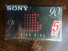 Pack of 5 New Sealed Sony UX 90 High Bias Cassette Tape Assembled in Mexico