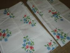 CANNON FEATHERLITE (PAIR) STANDARD/QUEEN PILLOWCASES FLORAL PINK BLUE WHITE