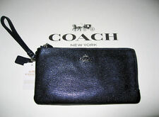 NWT COACH 54051 COLOR BLOCK LEATHER DOUBLE ZIP PHONE LARGE WALLET NAVY METALLIC