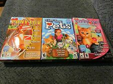 LOT 3 KITTY LUV PONY LUV I LUV HOUSE PETS GAME PC SOFTWARE CD ROM DISC COMPLETE
